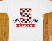 Checkered Flag Iron-On Shirt Design - Race Car Party - Choose child or onesie size
