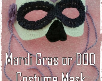 Mardi Gras or Day of the Dead  Mask Crochet Pattern PDF - INSTANT DOWNLOAD