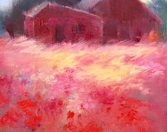 Landscape Painting, Farm Painting, Red Barn Painting, Wall Art, Farm, Original Small Oil Painting by Tina Wassel Keck, Oil on canvas panel