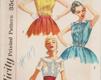 Simplicity 2005 / Vintage 1950s Sewing Pattern / Blouse Shirt Top / Size 12 Bust 32