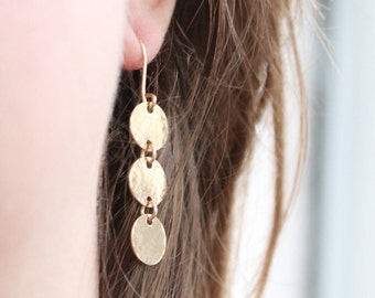 14k Gold Filled Earrings, Long Gold Earrings Dangle, Three Circles Hammered Earrings