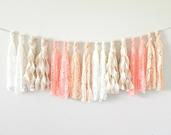 Coral Tassel Garland, Tassel Banner, Lace Garland, Boho Garland, Beach Wedding Decor, Shabby Chic Garland, Wedding Garland, Fabric Garland