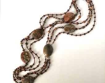 Long Multi Strand Jasper and Bronzite Natural Stone Necklace