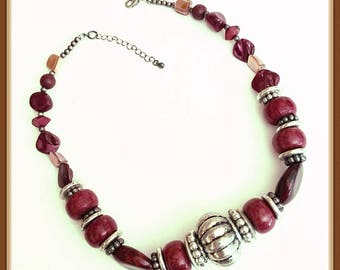 Vintage Maroon Necklace, Chunky Style, Antiquated Silver, Adjustable, Graduated Beads, 1980's