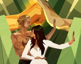 Iron Fist & Colleen Wing Comics-Inspired Modernist Print