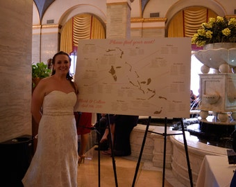 Bahamas Seating Chart. Custom Wedding Seating Chart - ANY SIZE