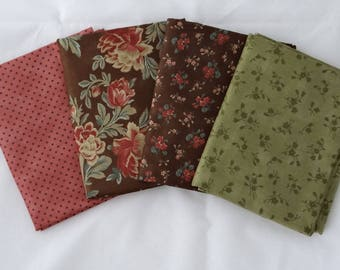 CHELSEA BOUTIQUE Moda fabric 4 yds Blackbird Designs quilting sewing Chocolate brown roses polka dot red fern green RARE