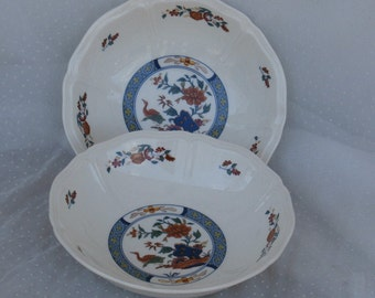 2 Wedgwood Chinese Teal Coup Cereal Bowls Vintage made in England