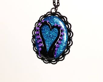 Tentacle cameo necklace. Octopus necklace. purple, black, blue, multi color. Gifts for her. heart necklace