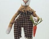 Folk art doll rabbit with carrot sculpture miniature standing on wood ooak #1
