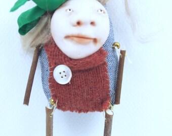 Folk Art Doll Ornament holiday christmas coth clay miniature doll #49