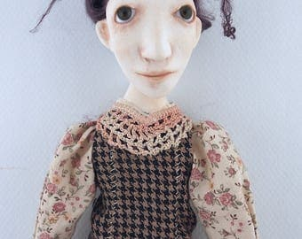 cloth and clay folk art doll ooak sculpted brown eyes black hair ooak sculpted Eunice