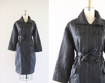 S A L E 1960's black trench jacket