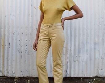Vintage Gold Metallic Knit 1990's Minimalist Crew Neck Cache Top Shirt S/M