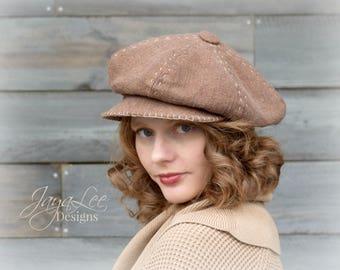 Slouchy Newsboy Hat Cap in Rustic Brown Linen