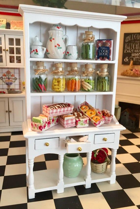 Miniature Hutch, Three Drawer Dresser with Bottom Shelf, Dollhouse Miniature, 1:12 Scale, Dollhouse Furniture, Wood Hutch