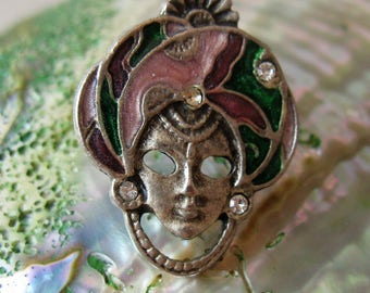 Vintage Genie Enamel & Clear Rhinestones Tac Pin Tack Pin