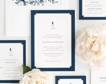 Elegant Border Wedding Invitations - Deposit