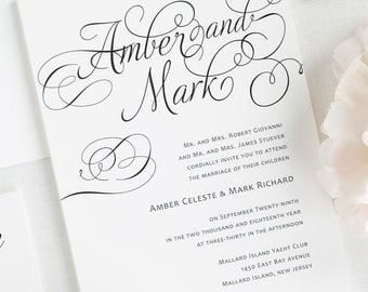Charming Script Wedding Invitations - Sample