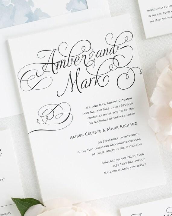 Charming Script Wedding Invitations - Sample