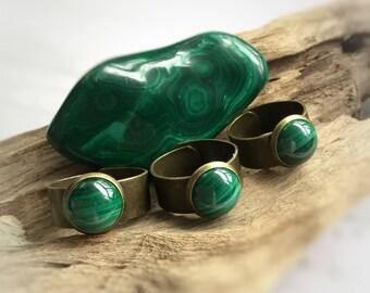Malachite ring, adjustable bronze band gemstone ring