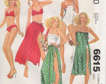 1970s Bikini Swimsuit Coverup Pattern - Vintage McCall's 6615 - Size 12 14 16 Bust 34 36 38 Bathing Suit