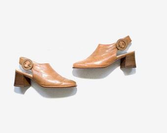 Vintage Leather Mules 7 / Slingback Mules / High Heel Mules / Slingback Heels