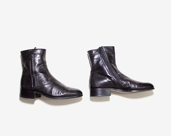 Vintage Ankle Boots 8.5 / Bally Ankle Boots / Black Leather Boots / Zip Up Boots / Ankle Boots Women