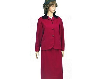 Vintage 50s 1950s Cranberry Cashmere Wool Jacket & Pencil Skirt Suit, XS, Small