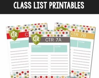 2017 Primary Theme Class List Printables-Instant Download Printables-DIY-LDS