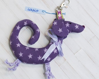 Purple Dachshund Dog Key Ring Small Pendant Key Chain Toy Handmade Soft Dots Gift Christmas Holidays Violet Stars Valentine's Day