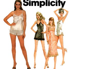 Simplicity 9859 80s Lingerie Slips Teddy Camisole & Tap Pants Vintage Sewing Pattern Size 14 Bust 36 inches UNCUT Factory Folds