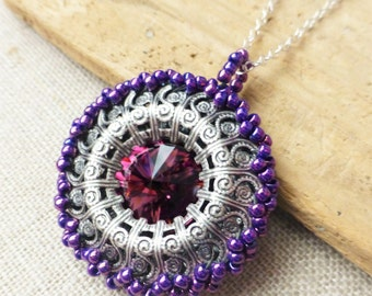 Amethyst Purple Swarovski Crystal Beaded Necklace, Crystal Rivoli Pendant, Beaded Filigree Circle Pendant, Gift for Her, Gift for Mom