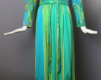 60s MAURICE jersey print art nouveau psychedelic sun drenched buildings maxi DRESS gown vintage 1960s