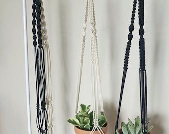 Macrame Plant Hanger | Natural White Cotton Rope | 3 Strand Indoor Hanging Planter | Plant Pot Holder | Boho Decor