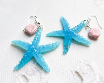 Cute Blue Starfish Earrings, Nautical Earrings, Cute Earrings, Starfish Earrings, Kawaii, Starfish, Seashell, Cute