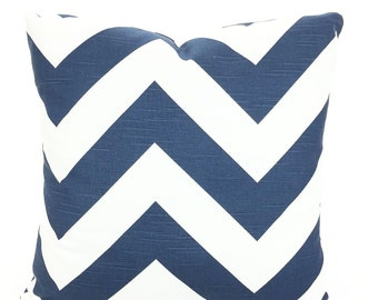 Navy Blue Chevron Pillow Covers, Decorative Throw Pillows, Cushions, Premier Navy White Large Chevron Zig Zag Zippy - One or More ALL SIZES