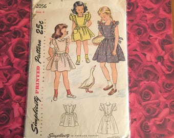 40's Vintage Girls Simplicity Sewing Pattern