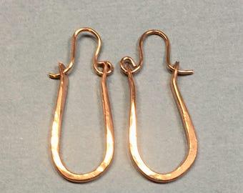 Copper Hoop Earrings, Long U Shaped Hoop Earrings, Hammered Copper Hoops 1 & 3/8 Inches Long .5 Inches Wide