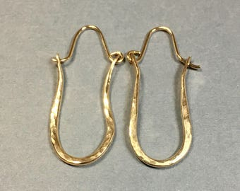 Gold Hoop Earrings 14kt Gold Filled, Handmade Hammered Hoops 1 & 3/8 Inches Long .5 Inches Wide, Long Gold Hoop Earrings