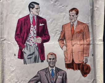 Vintage Butterick 6595 Men's Cardigan or Tailored Jacket and Vest