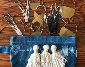 Indigo Shibori Cosmetic Pouch with Tassels