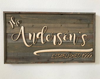 Personalized Customized Wood Family Established sign made from faux Barn Wood Barnwood family name last name sign gift