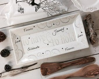 3021hhn Personalized Wedding Pottery Have Hold Couple's Platter, Traditional Wedding Vow Plate, Personalized Anniversary w/Couple's Names