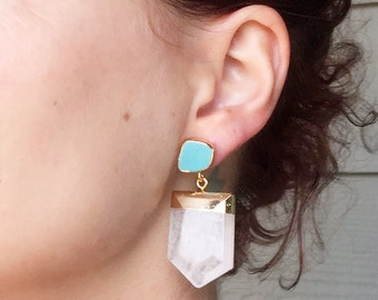 Large Chunky Crystal Quartz Pendant Turquoise Stud Gold Dipped Statement Earrings