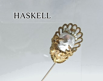 Vintage Miriam Haskell Brooch - Signed Haskell Baroque Style Stick Pin Brooch