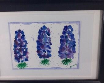 Original Watercolor Bluebonnet Painting ACEO Miniature Framed Art