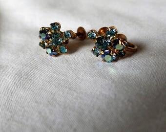 50s Blue Rhinestone Earrings Vintage Rhinestone Earrings Screwback