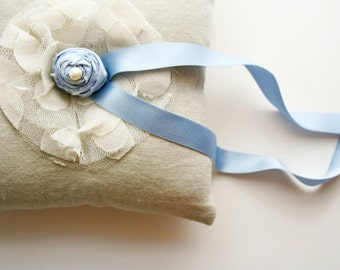 Something Blue, Ring Bearer Pillow, Ring Cushion