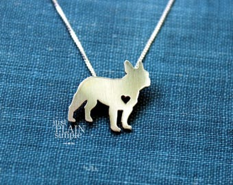 French Bull dog necklace sterling silver, tiny silver hand cut dog pendant with heart,